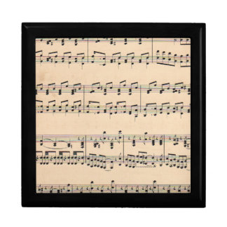 Vintage Sheet Music Score Black and White notes Large Square Gift Box