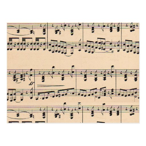 Vintage Sheet Music Score Black and White notes Post Card