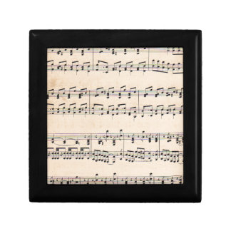 Vintage Sheet Music Score Black and White notes Small Square Gift Box