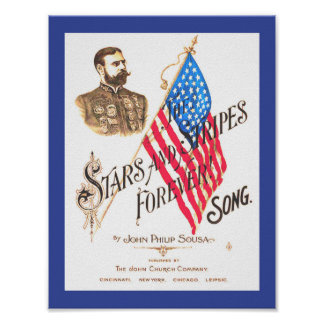 Vintage Sheet Music Stars and Stripes Forever copy Poster