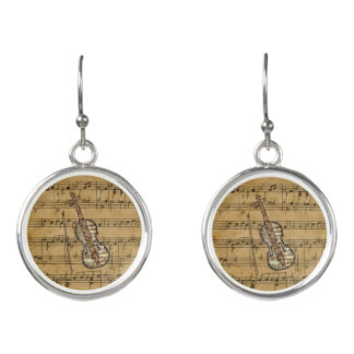 Vintage Sheet Music Violin Earrings