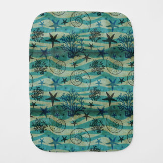Vintage Shells And Starfish Pattern Burp Cloth