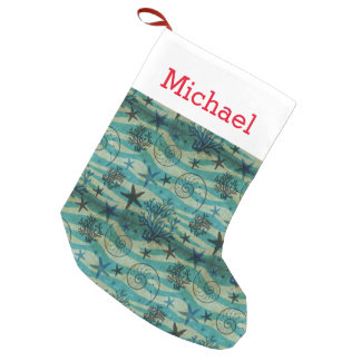 Vintage Shells & Starfish Pattern | Add Your Name Small Christmas Stocking