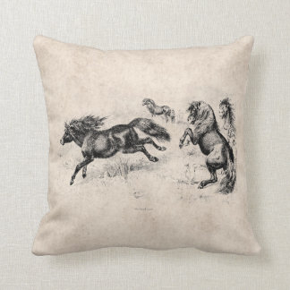 Vintage Shetland Ponies - 1800's Horse and Pony Cushion