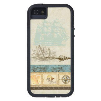 Vintage Ship Anchor Map Compass Rose n Shells Mens Tough Xtreme iPhone 5 Case