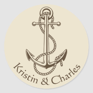 Vintage Ship Anchor Nautical Personalized Tan Round Sticker