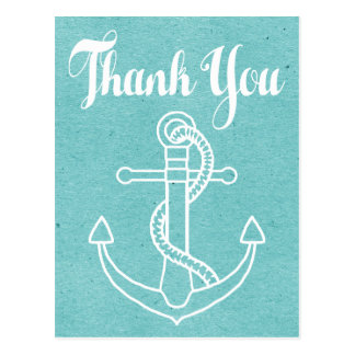 Vintage Ship Anchor Thank You Blue Turquoise Postcard
