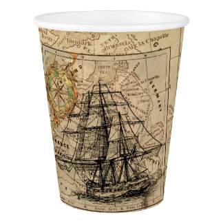 Vintage Ship And Map Paper Cup