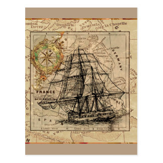 Vintage Ship And Map Postcard