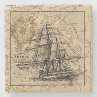 Vintage Ship And Map Stone Coaster