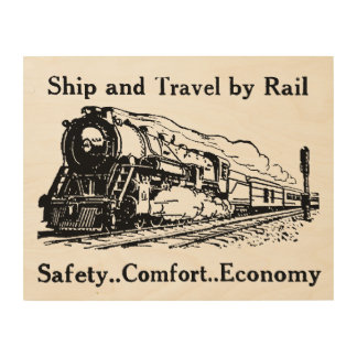 Vintage Ship and Travel By Rail Wood Wall Decor