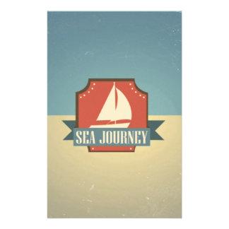 Vintage Ship Image. Sea Journey Message Flyer Design