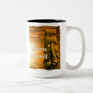 vintage ship inspirational motivational quote Two-Tone coffee mug