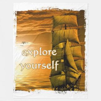vintage ship motivational quote explore yourself fleece blanket