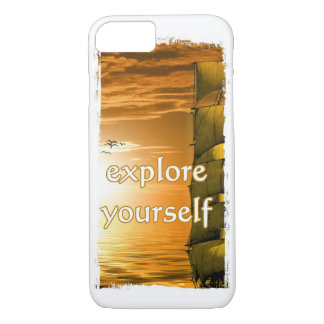 vintage ship motivational quote explore yourself iPhone 7 case