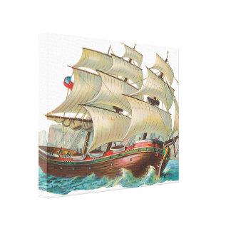 Vintage Ship Sail Across Blue Sea 3D Wrapped Print Stretched Canvas Prints