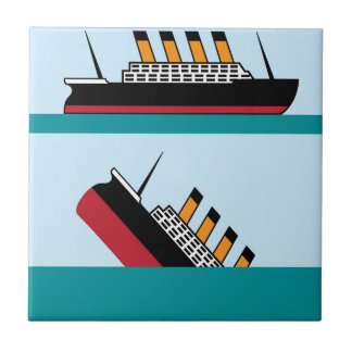 Vintage ship small square tile