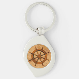 Vintage Ship Wheel Silver-Colored Swirl Metal Keychain