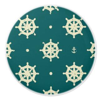 Vintage Ship Wheel Pattern Ceramic Knob
