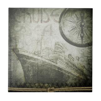 Vintage Ship Wind Rose Art Small Square Tile
