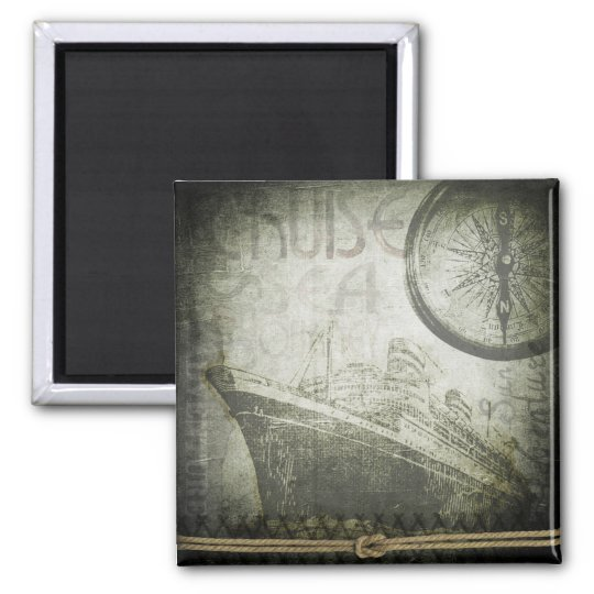 Vintage Ship Wind Rose Art Square Magnet