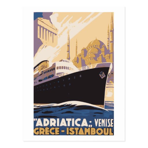 Vintage shipping line ad Venice, Greece, Istanbul Post Cards