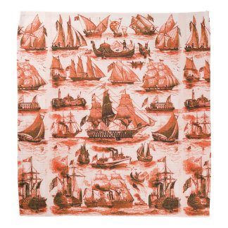 VINTAGE SHIPS,SAILING VESSELS,Red White Head Kerchiefs