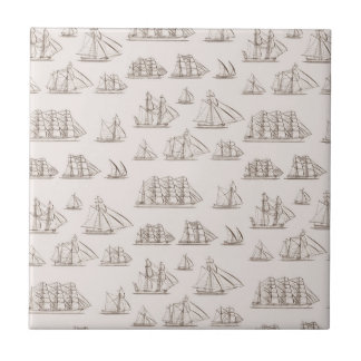 Vintage Ships Small Square Tile