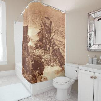 Vintage Shipwreck - Sailing Ship Antique Photo Shower Curtain