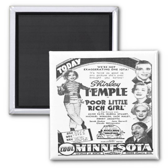 Vintage Shirley Temple Film Advert Fridge Magnet