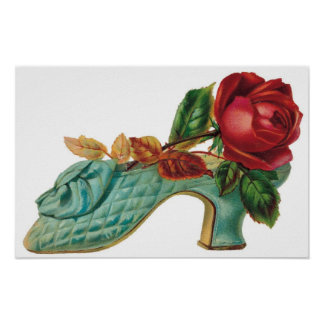 Vintage Shoe with a Red Rose Poster