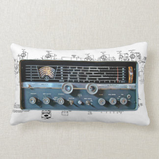 Vintage Short Wave Radio Lumbar Pillow