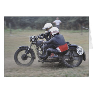 vintage sidecar scrambler outfit birthday greeting card