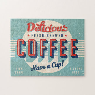 Vintage sign - Fresh Brewed Coffee Jigsaw Puzzle