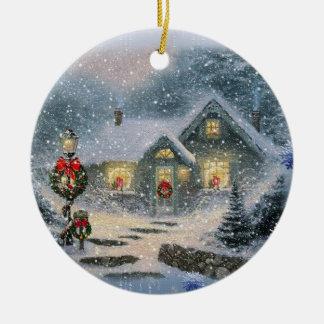 Vintage Silent Night cottage Ornament