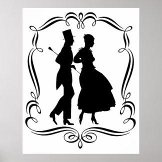 Vintage Silhouette Elegant Man Woman Poster Print