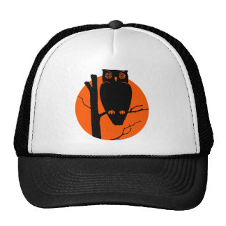 Vintage Silouhette Owl Orange Moon Trucker Hats