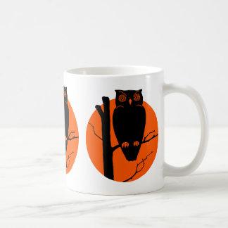 Vintage Silouhette Owl Orange Moon Coffee Mugs