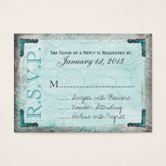 Vintage, Silver and Blue RSVP Cards