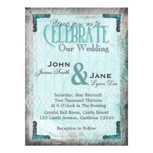 Vintage, Silver and Blue Wedding Invitation