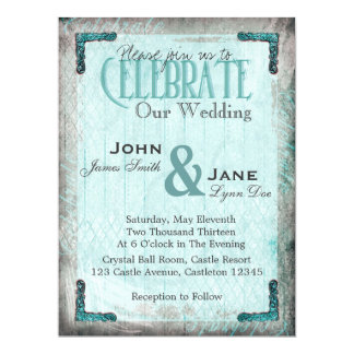 "Vintage, Silver and Blue Wedding Invitation 6.5"" X 8.75"" Invitation Card"