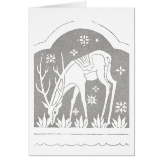 Vintage Silver Art Deco Deer in Snow Card