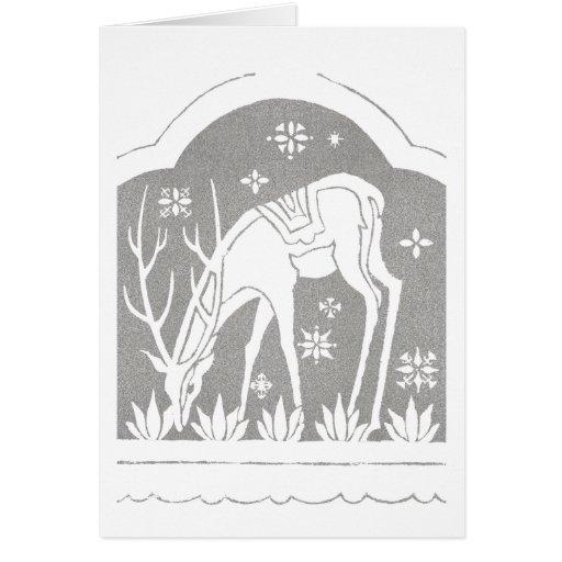 Vintage Silver Art Deco Deer in Snow Card