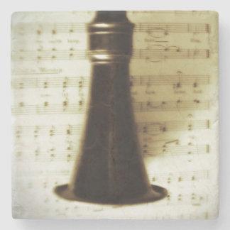 Vintage Silver Clarinet Stone Beverage Coaster