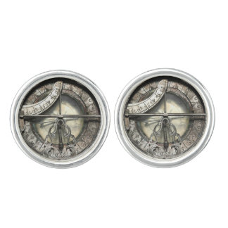 Vintage Silver Compass image pewter Cufflinks