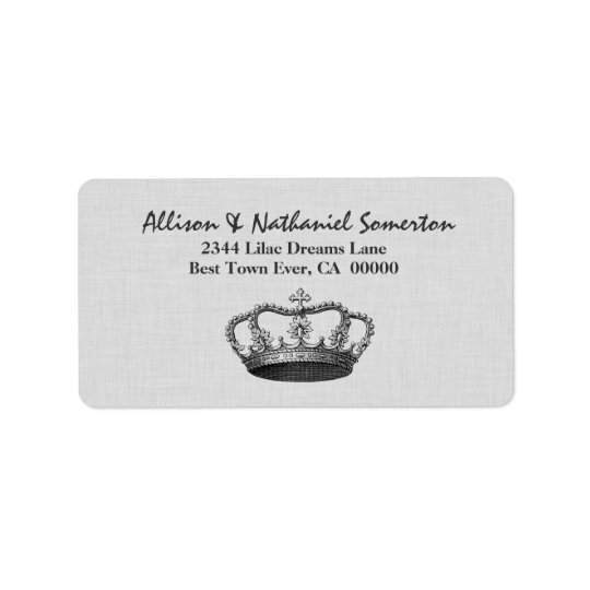 Vintage SILVER Crown Wedding V01 Label