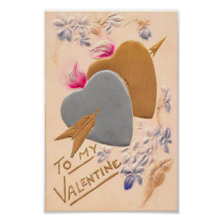 Vintage Silver & Gold Hearts Valentine Postcard Posters
