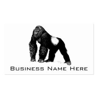 Vintage Silverback Gorilla Illustration, Black Double-Sided Standard Business Cards (Pack Of 100)
