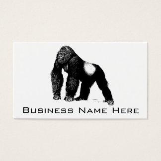 Vintage Silverback Gorilla Illustration, Black Business Card