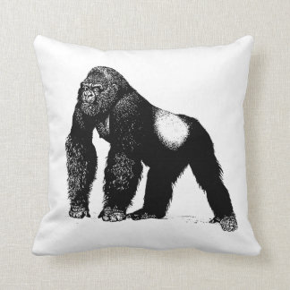 Vintage Silverback Gorilla Illustration, Black Cushion